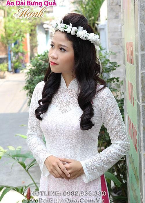 Áo dài trắng ren hoa mai cổ truyền thống tay dài cúp ngực