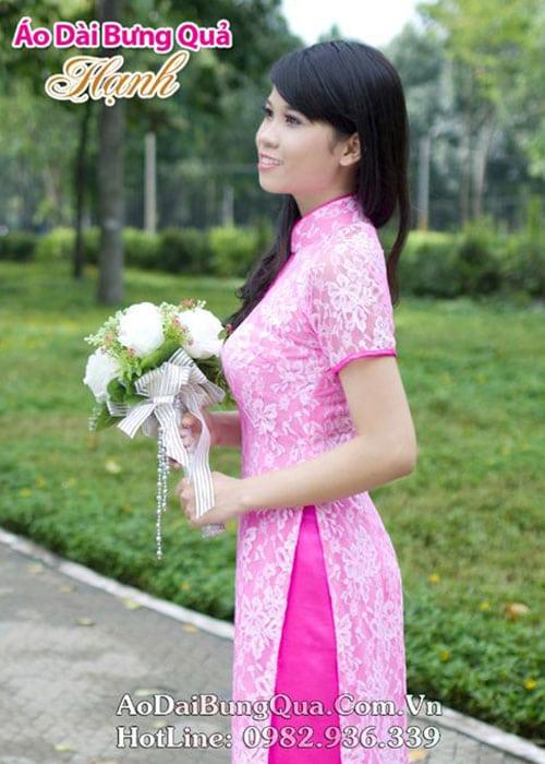 Áo dài hồng phấn ren hoa cổ 1 GN viền hồng sen tay ngắn lót ngực