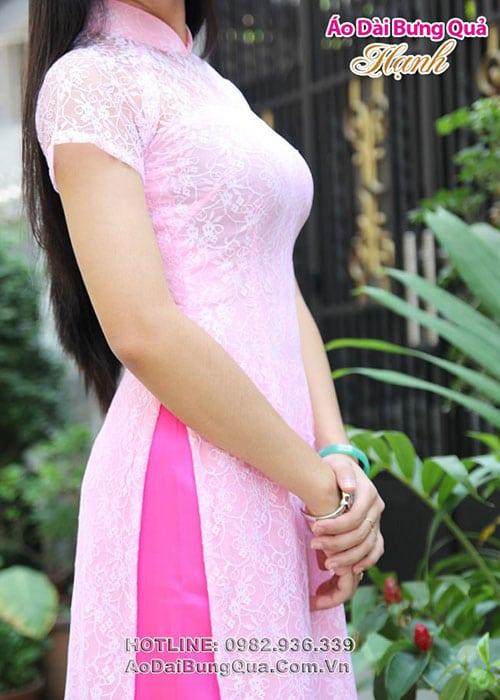 Áo dài hồng phấn bông bi cổ truyền thống tay ngắn cúp ngang