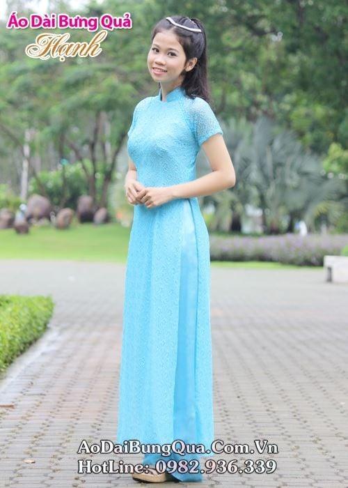 Áo dài xanh dương ren lưới cổ truyền thống tay ngắn cúp ngực