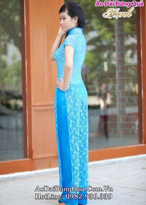 Áo dài xanh dương ren hoa cổ bậc tay ngắn lót ngực