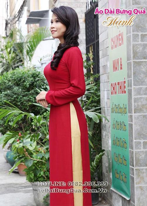 Áo dài đỏ đô chiffon trơn cổ truyền thống viền vàng tay dài