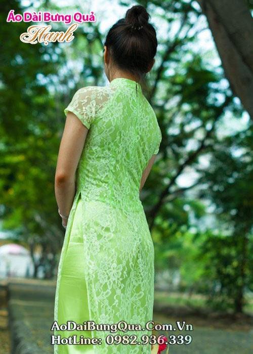 Áo dài xanh cốm ren hoa cổ 1 GN tay ngắn cúp ngực