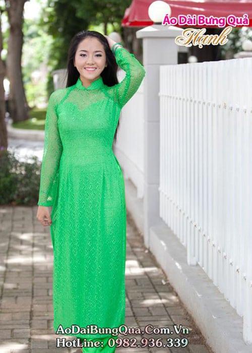 Áo dài xanh két ren lưới cổ bậc tay dài cúp ngực