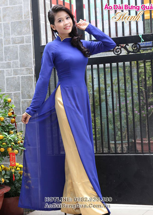Áo dài xanh bích chiffon cổ truyền thống tay dài