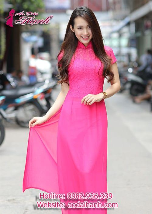 Áo dài hồng sen chiffon phối ren hoa cổ truyền thống tay ngắn cúp ngực