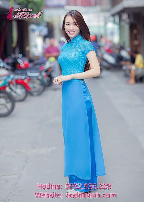 Áo dài xanh dương chiffon phối ren cổ truyền thống tay ngắn cúp ngực