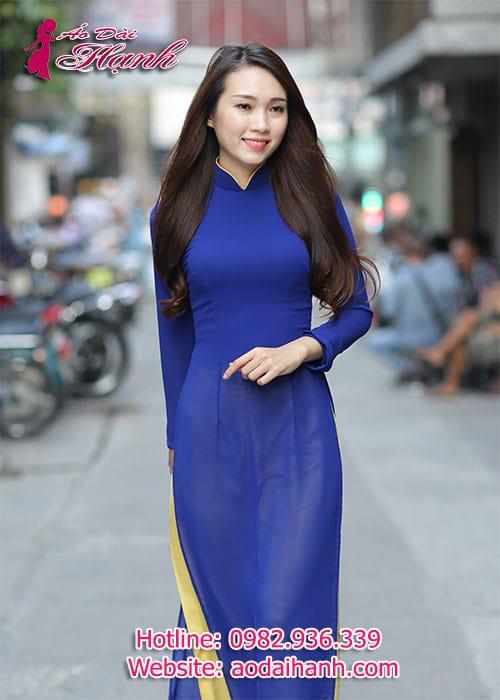 Áo dài xanh bích chiffon cổ truyền thống viền vàng tay dài