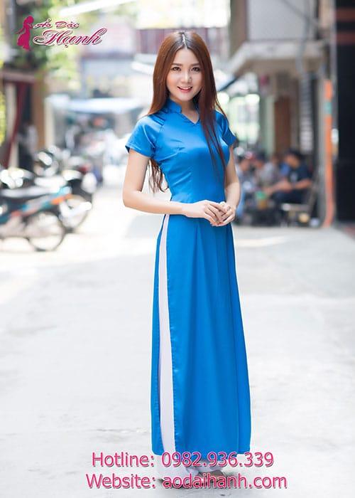 Áo dài xanh dương lụa trơn cổ chữ v tay ngắn