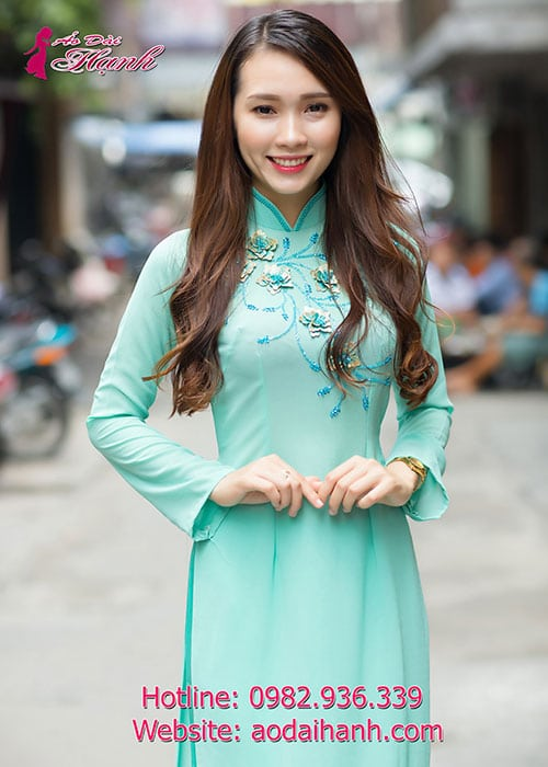 Áo dài xanh ngọc chiffon đính hoa nổi cổ truyền thống tay dài